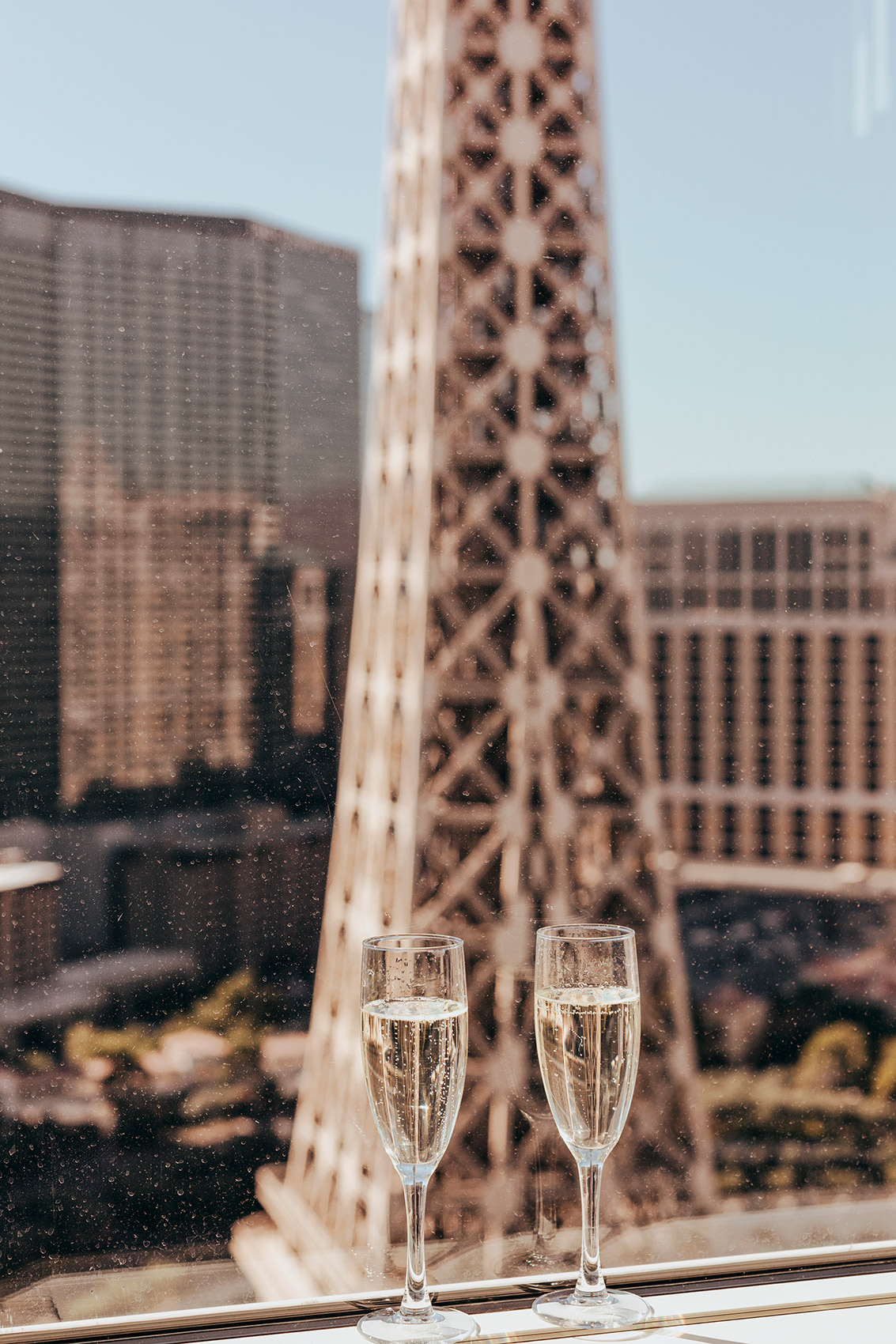 Glasses of Champagne at the Paris Hotel in Las Vegas - Kimberly Genevieve lifestyle photographer Los Angeles