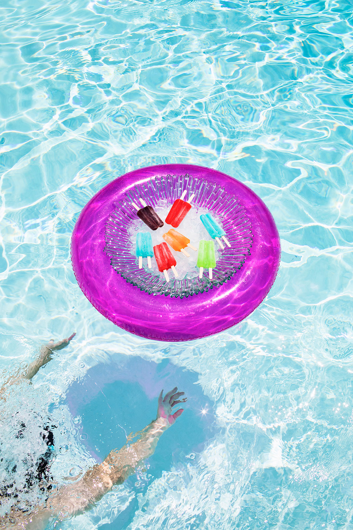 Purple pool float with popsicle - Kimberly Genevieve lifestyle photographer Los Angeles