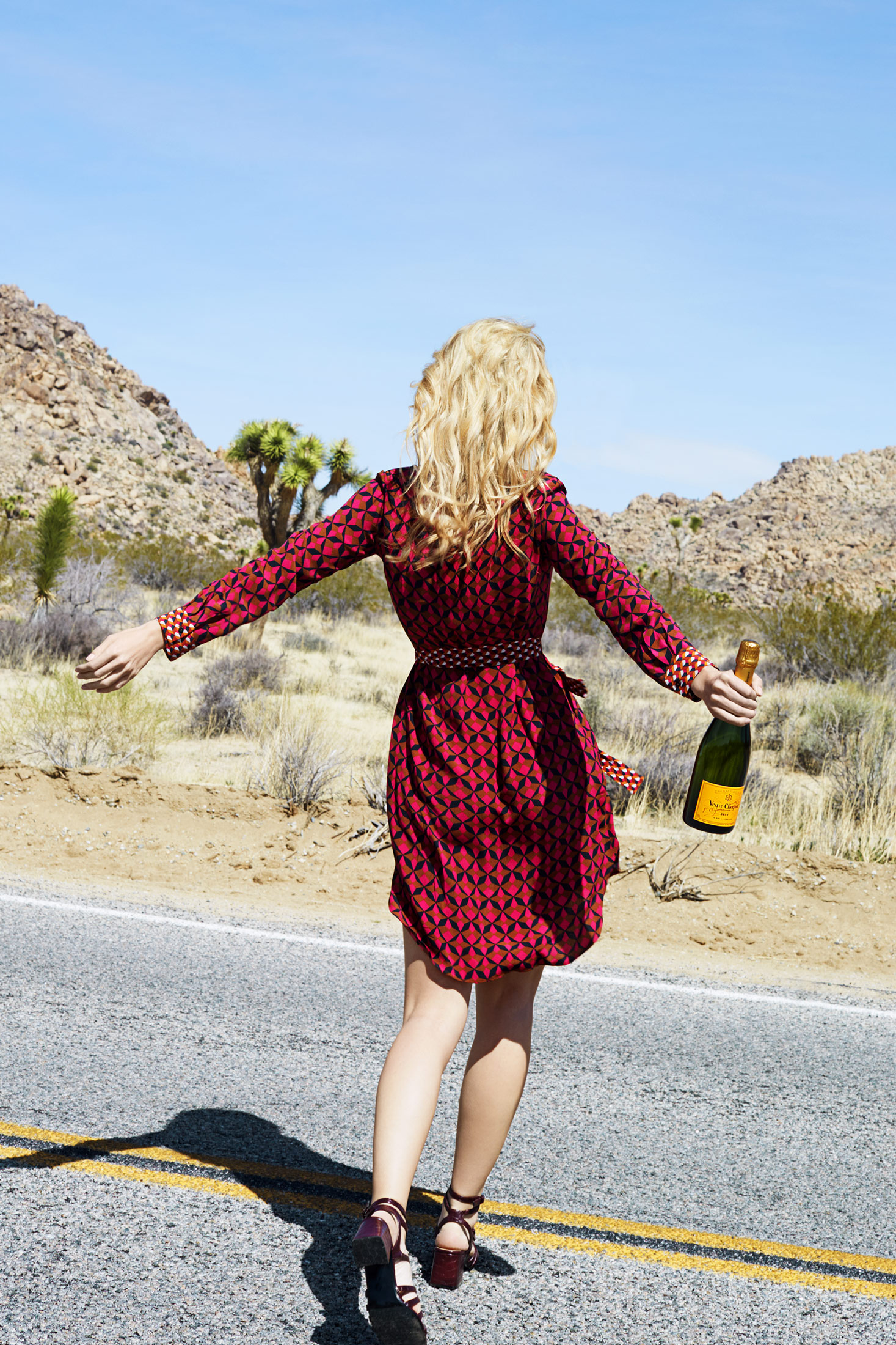 Girl wearing a dress walking away with a bottle of champagne - Kimberly Genevieve Los Angeles Advertising Photographer