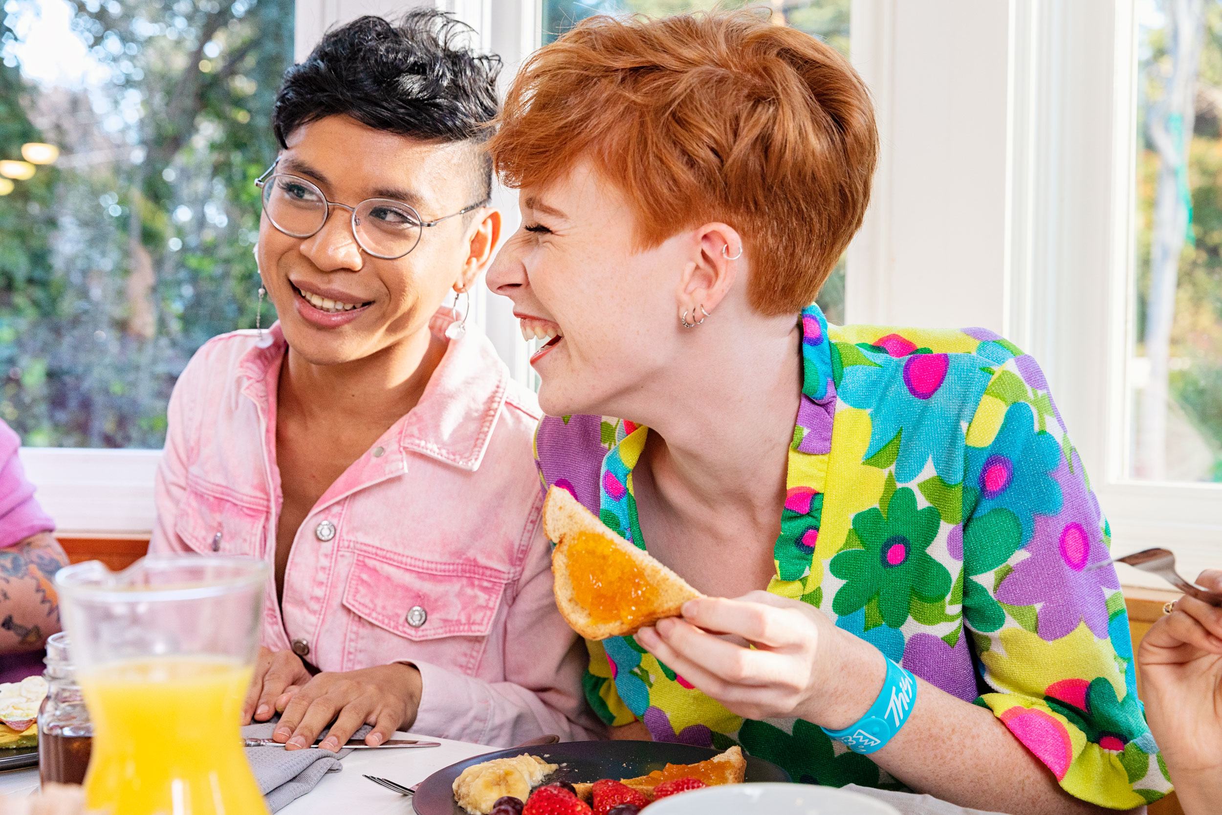 LGBTQ youth laughing at the kitchen table - Kim Genevieve Los Angeles Lifestyle Photographer
