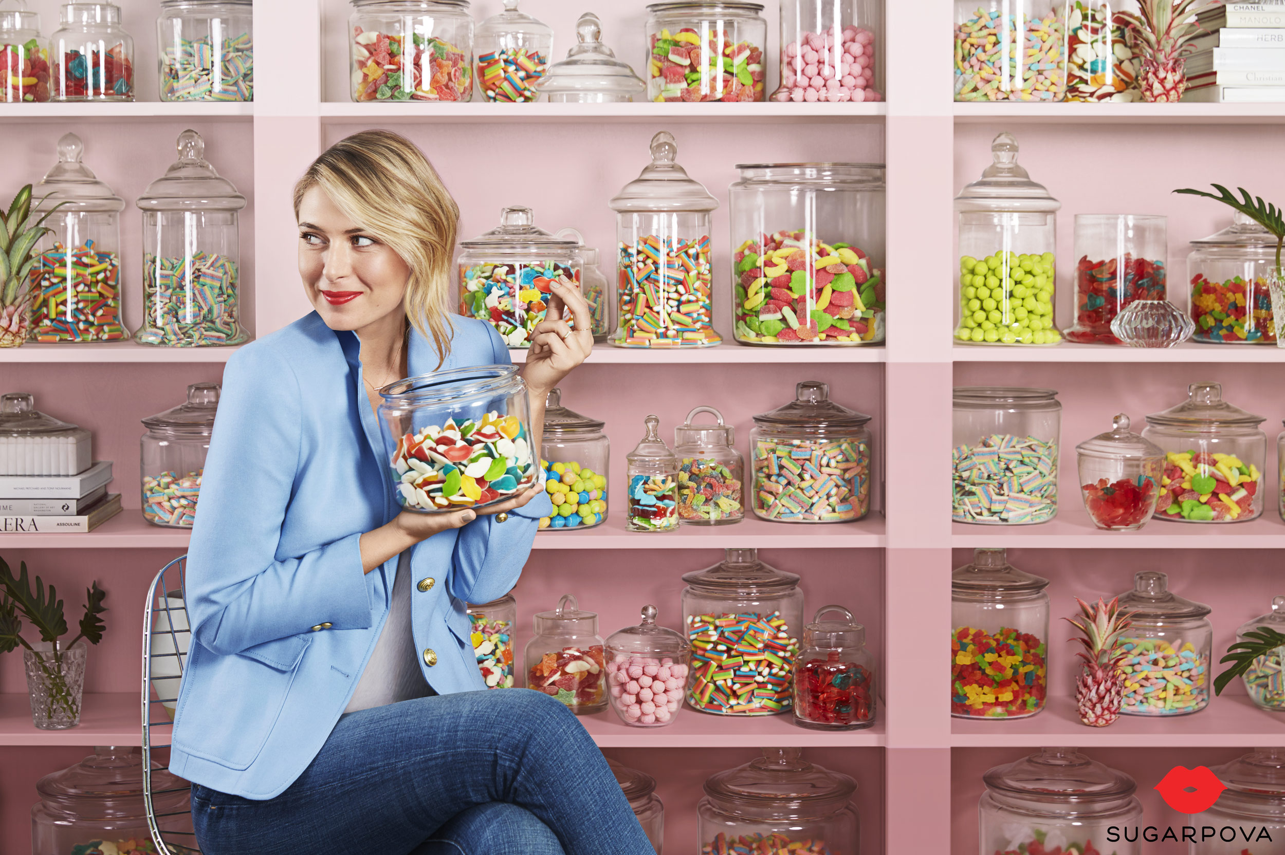 Maria Sharapova holding a jar of candy for Sugarpova - Kimberly Genevieve Los Angeles Lifestyle Advertising Photographer