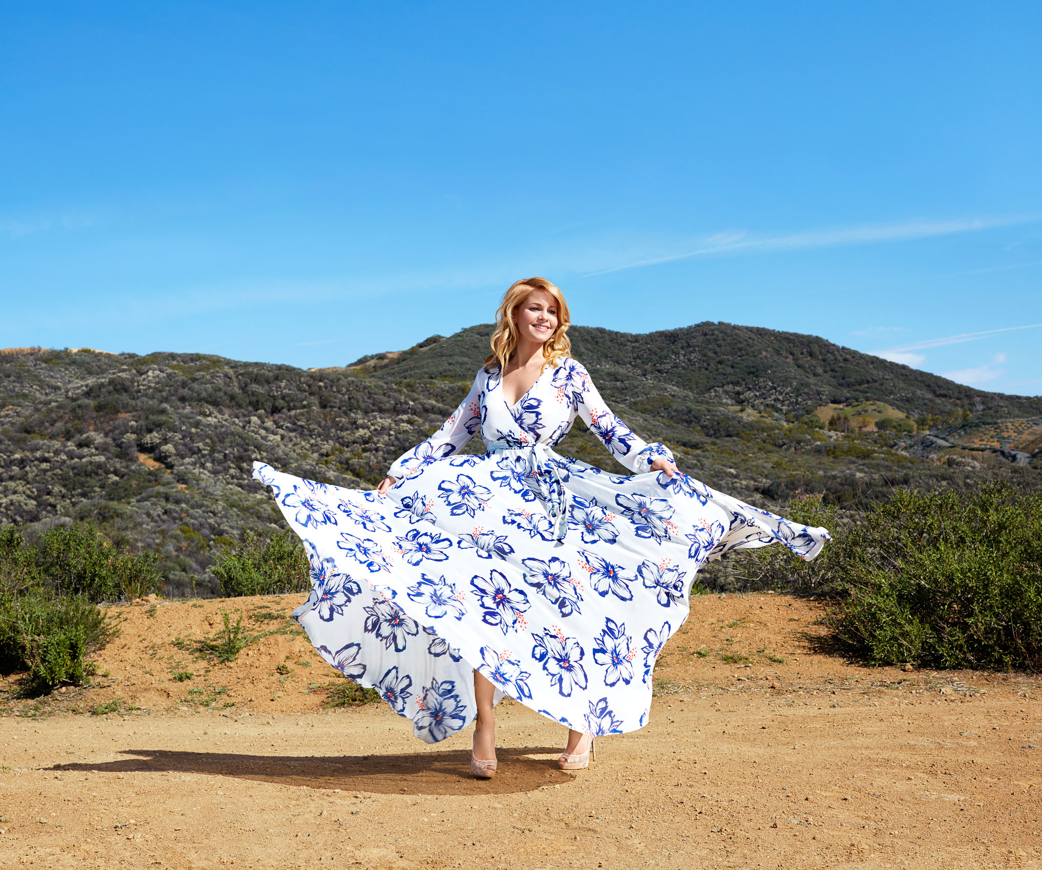 Celebrity Candace Cameron in a floral dress. Kim Genevieve Los Angeles Portrait Photographer
